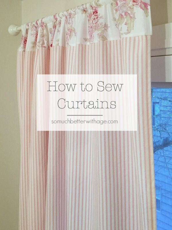 How to Sew (Pink Ticking) Curtains Rideaux stores, Chambre filles