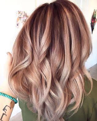 7e06b303163aa Image result for rose gold highlights on blonde hair