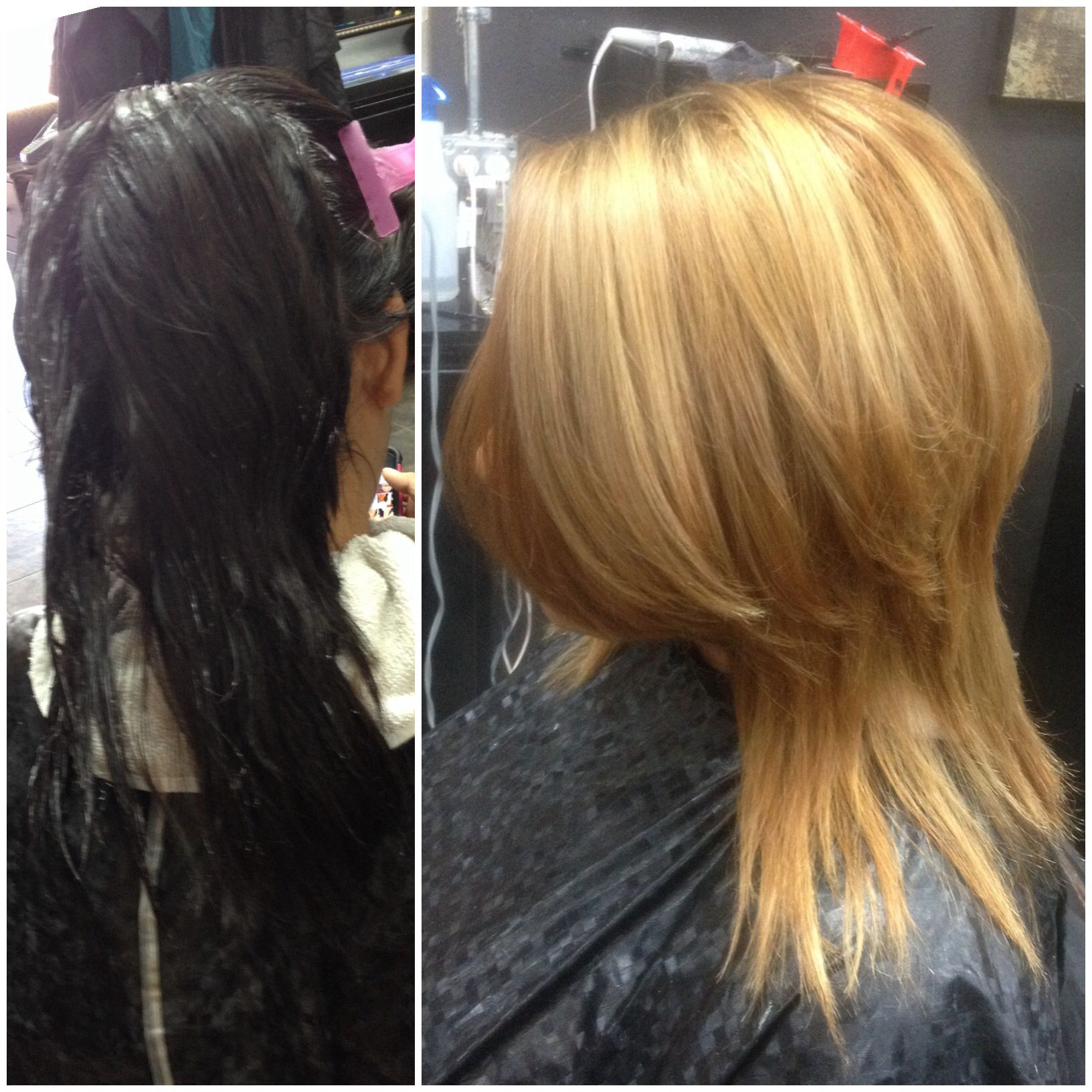 Dark To Light Hair Blonde Lightened From A Black Box Dye Follow
