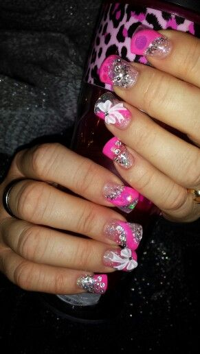 Sculpted Fanned Out Color Acrylic Nails With Bows And Swarovsky Crystals