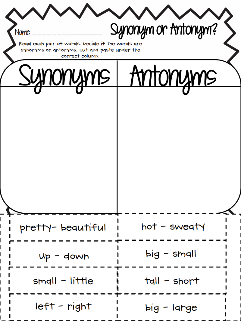 worksheet Antonym And Synonym Worksheets synonym or antonym pdf google drive fun school stuff language drive