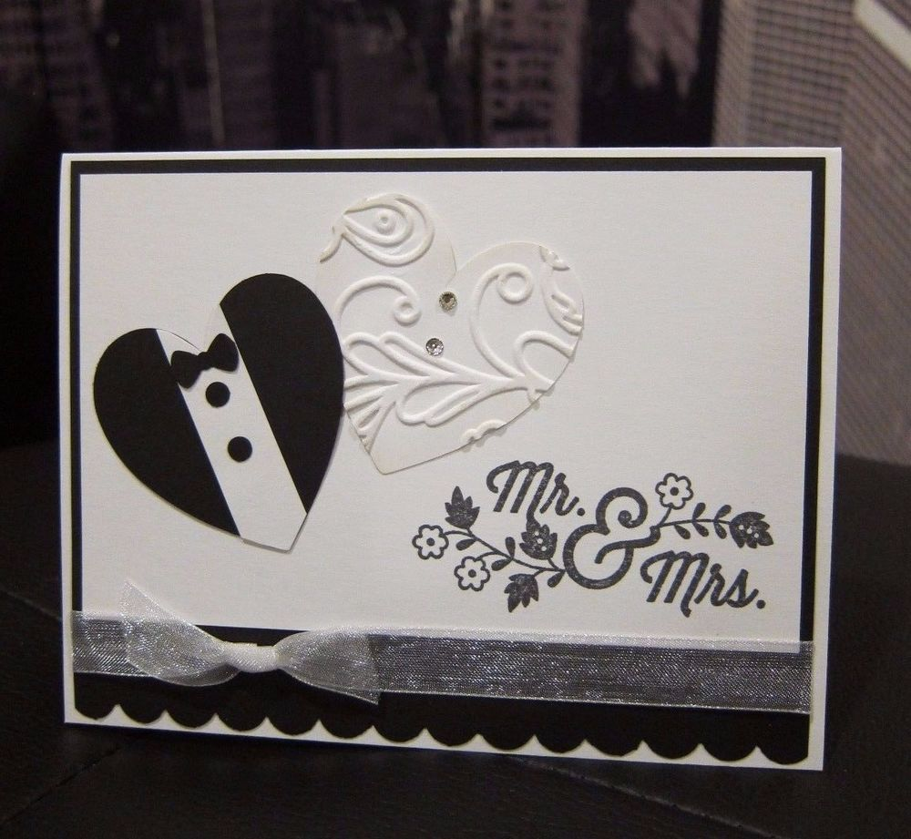 handmade card wedding Mr and Mrs