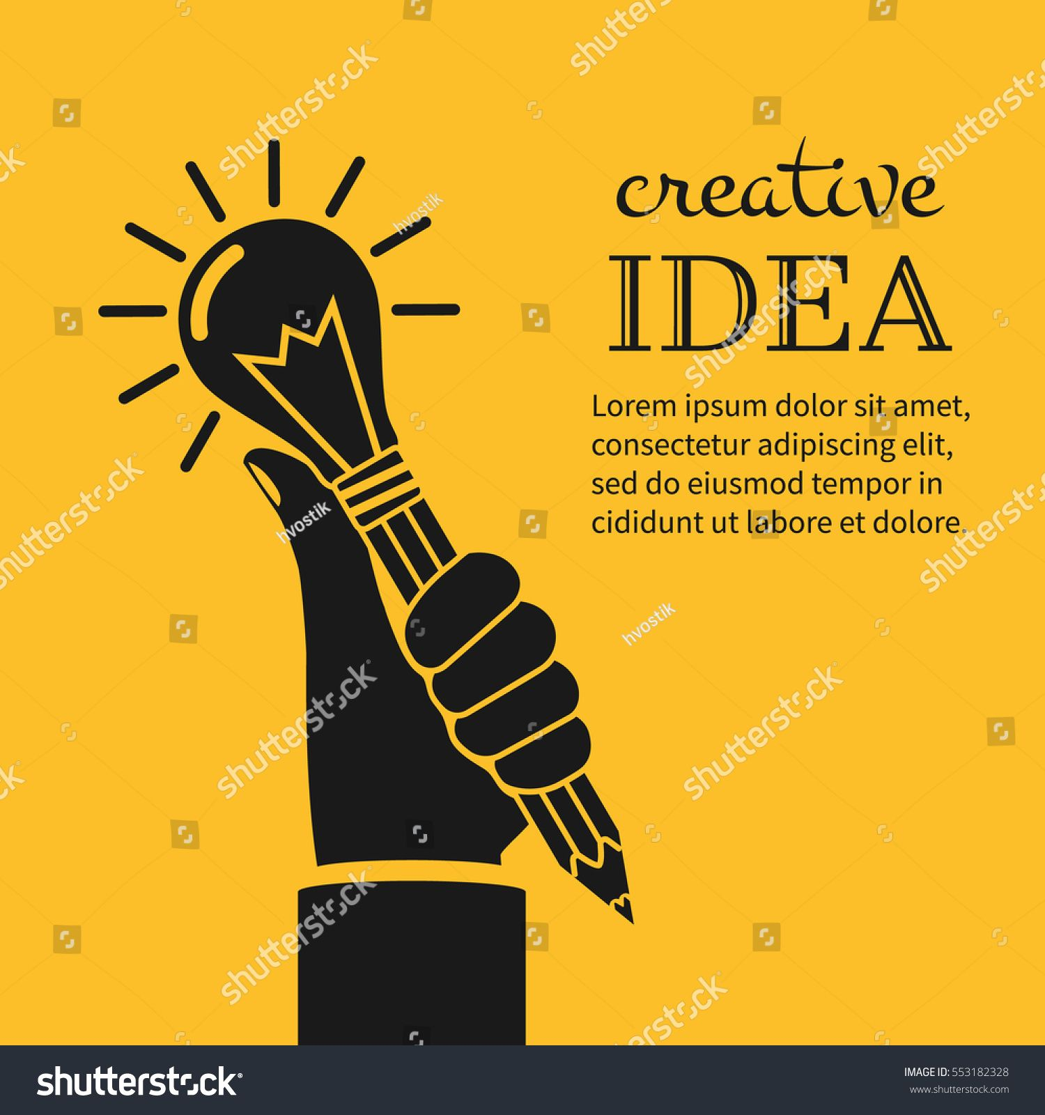 Creative Ideas Concept Hand Holding Pencil With Light Bulb