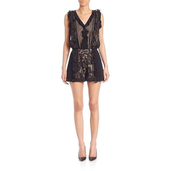 Alexis Karilva Lace Ruffle Short Jumpsuit ($645) ❤ liked on Polyvore featuring jumpsuits, apparel & accessories, black macrame, short jumpsuits, lace jumpsuit, ruffle jumpsuit, sleeveless jumpsuit and jump suit