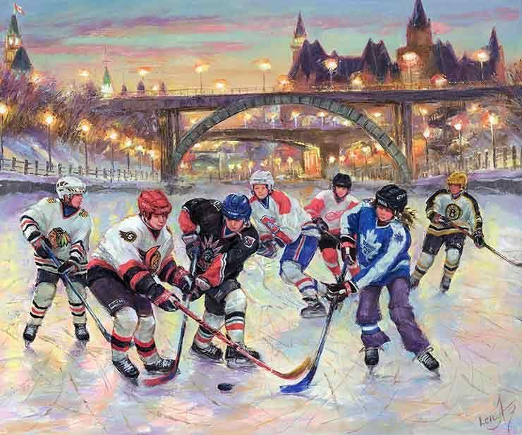 Billedresultat for paintings ice hockey Vintage
