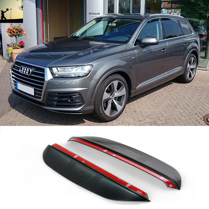 Car Styling For Audi Q7 From 2016 2017 Carbon Rearview Mirror Rain Eyebrow Rainproof Flexible Blade Protector Car Styling Audi Q7 Exterior Accessories Audi