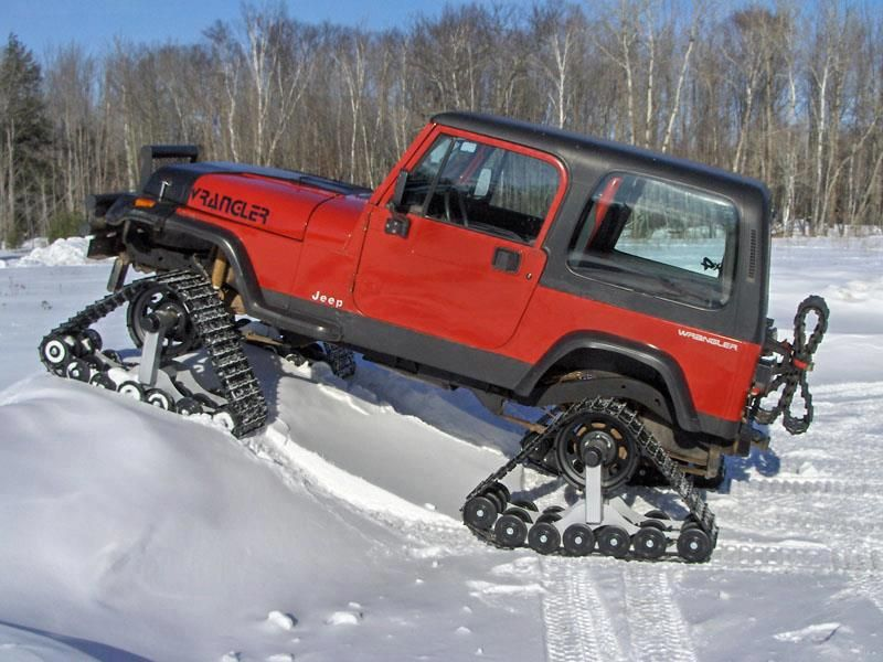 Jeep In Snow >> Jeep Wrangler Modified With Snow Tracks Bad Trucks Jeep Truck