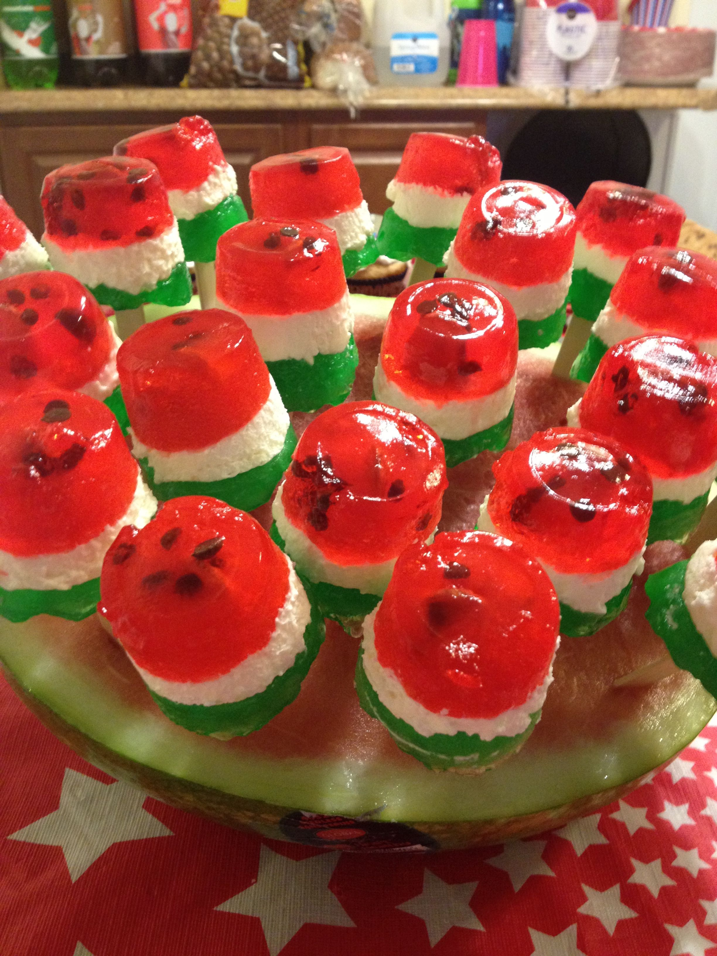 Watermelon Pops- Jello, coolwhip & chic chips in a Dixie cup...Great Summer Treats!