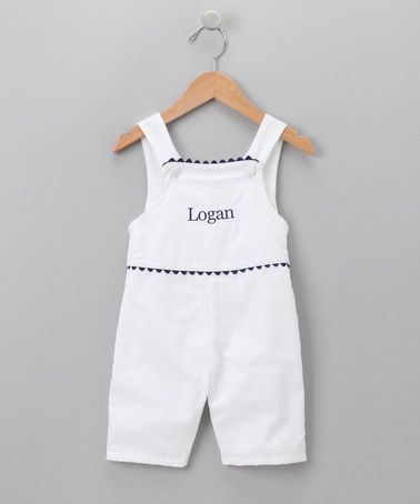 Take a look at this White & Navy Personalized John Johns - Infant & Toddler by Princess Linens on #zulily today!
