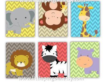kids art prints safari nursery art prints by littlepergola - Kids Animal Prints