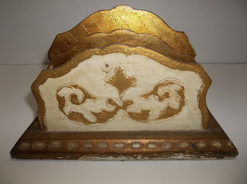 Vintage Italian Florentine Toleware LETTER HOLDER Desk Organizer  #Victorian #Florentia