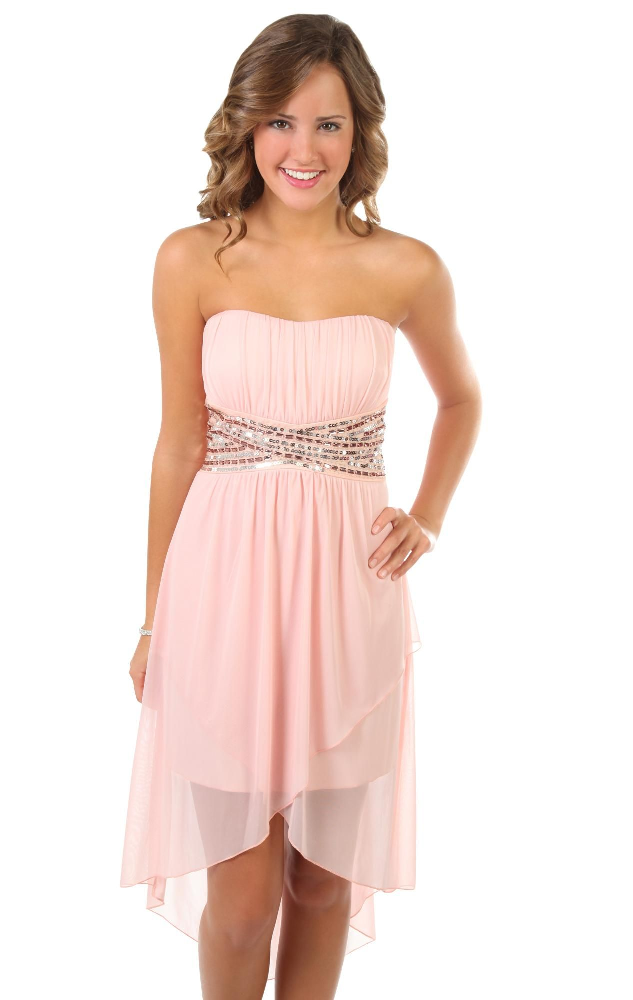 $60 Deb - strapless sequin bodice tulip party dress with short high ...