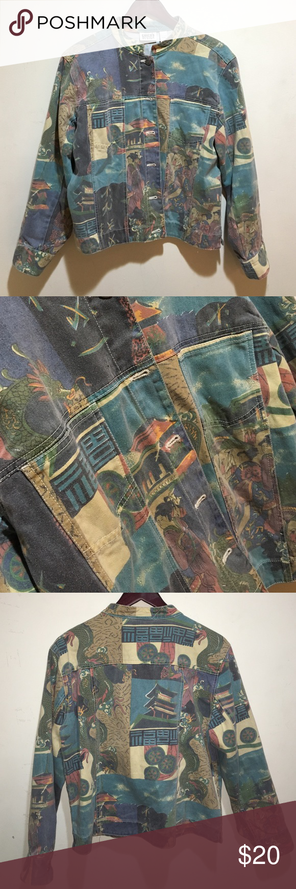 Asian Influenced Denim Jacket printed denim jacket, very unique! Chico's Jackets & Coats Jean Jackets