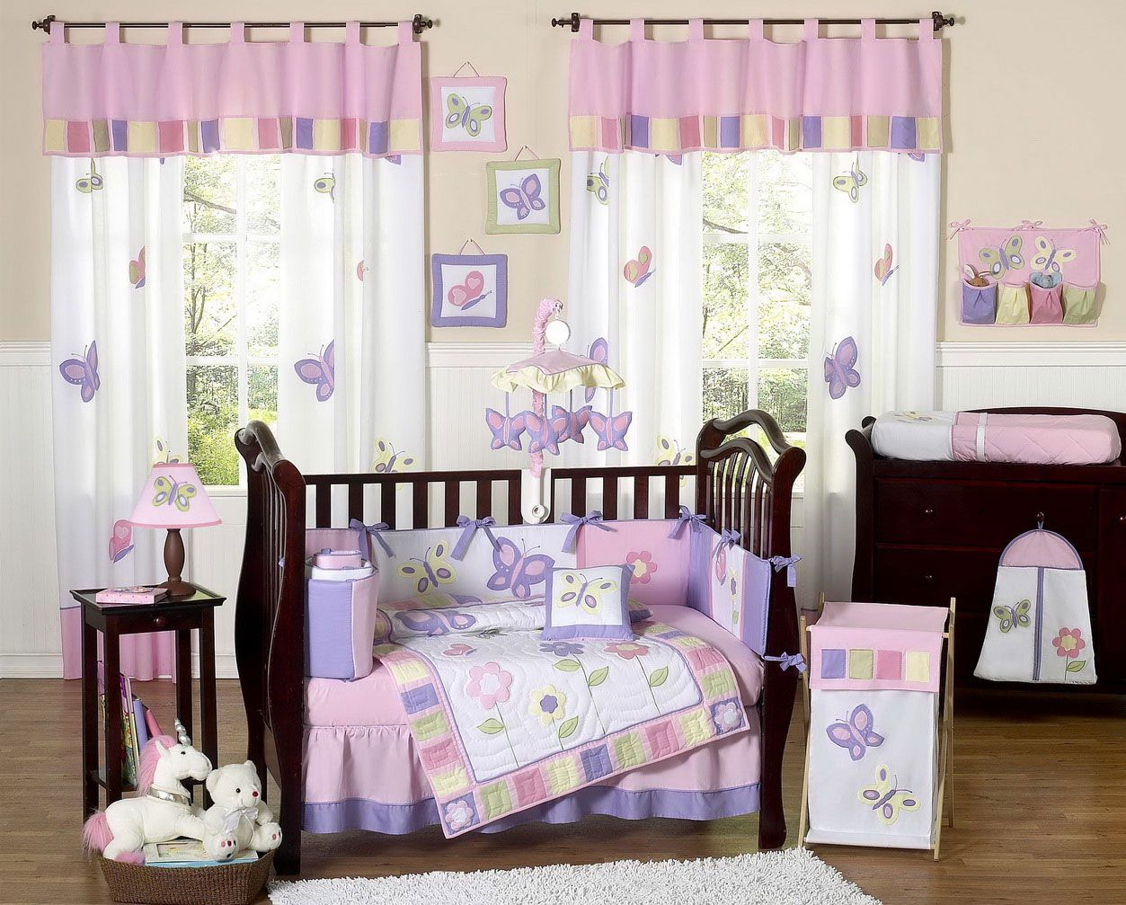 Lovely Modern Nursery Baby Girl Room with Wooden Crib and ...