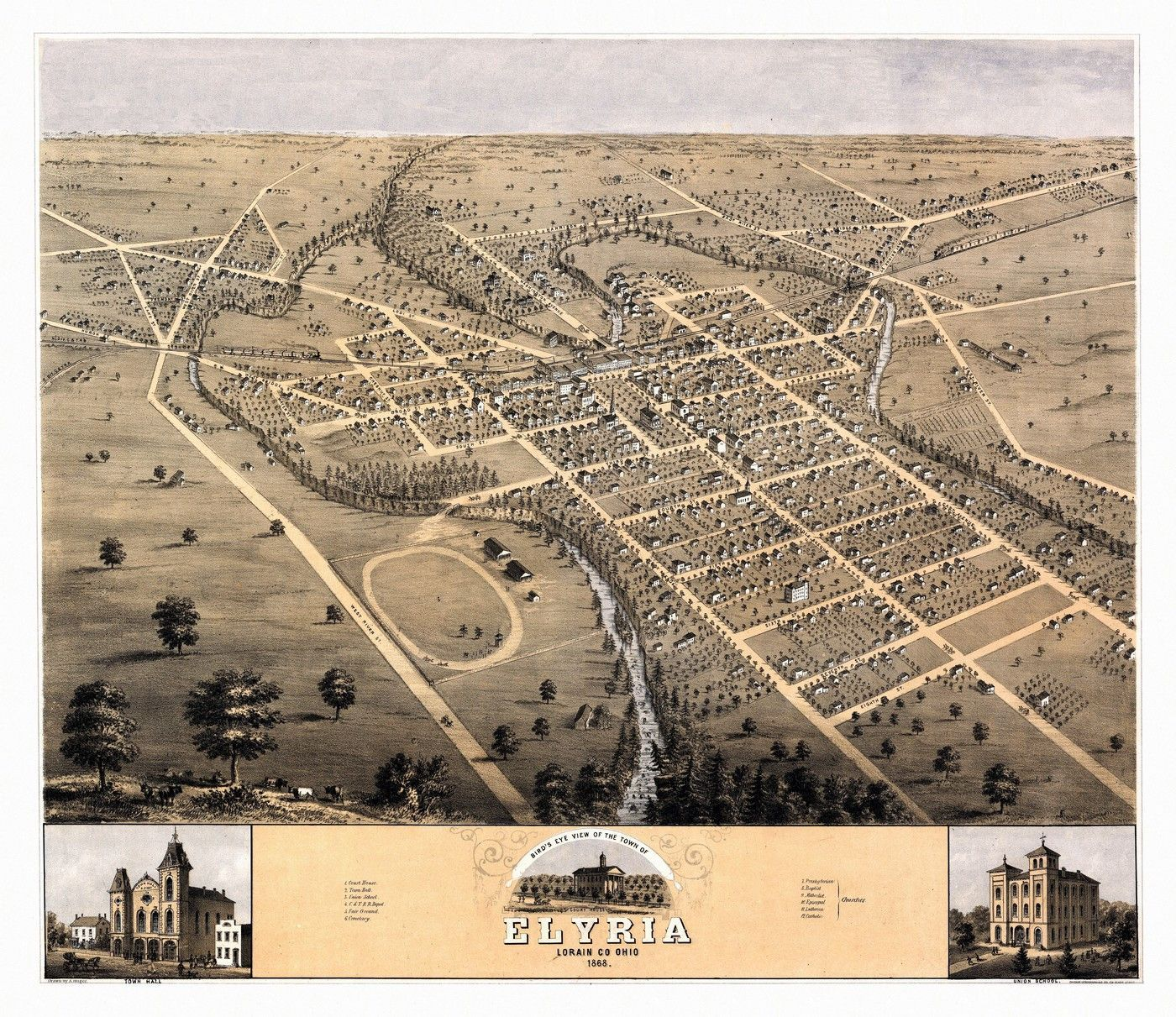 Vintage Map of Elyria Ohio 1868 Lorain County plan Pinterest