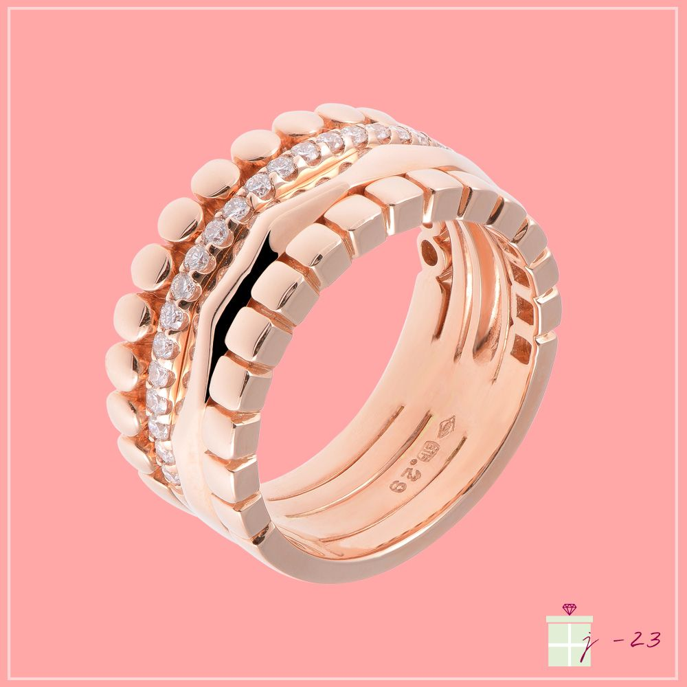 d1e2c57038bf0 Bague quatre anneaux en or rose 18 carats et diamants, esprit Boucheron -  Bijouterie Rullière-Bernard - Bijoux or rose