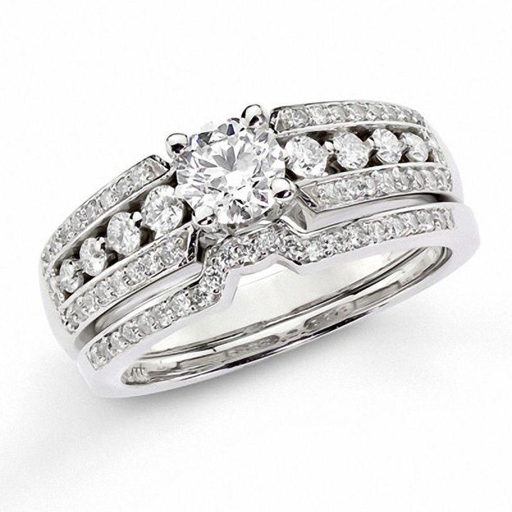 1 Ct T W Diamond Bridal Set In 14k White Gold Engagement Rings