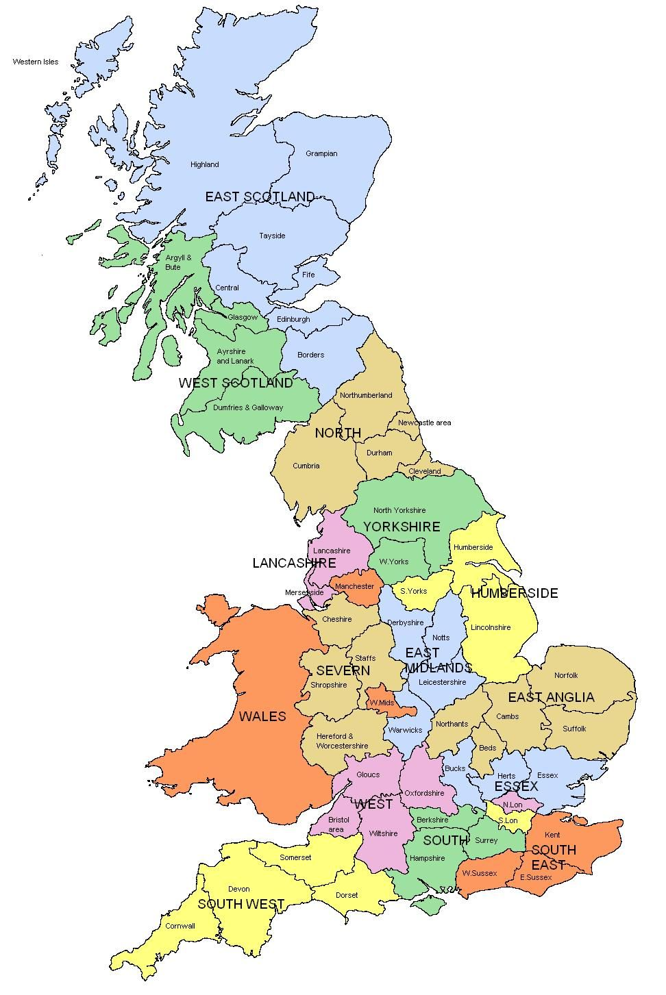 Map of Regions and counties of England, Wales, Scotland | England ...