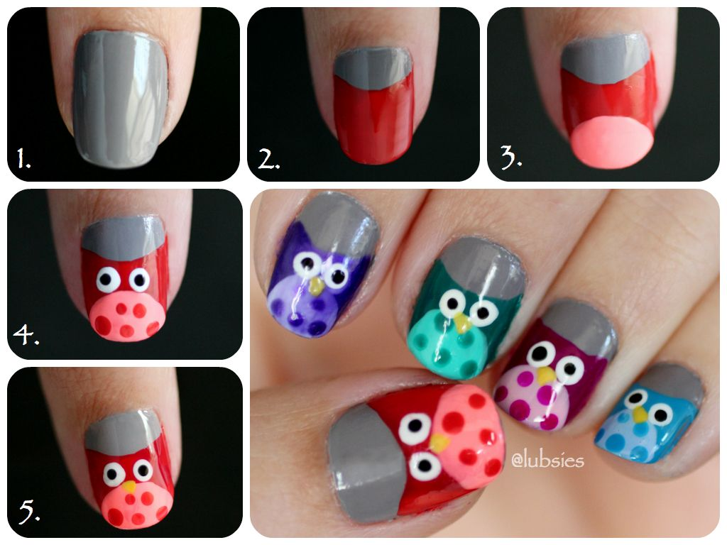 Cute owl nail tutorial nails pinterest owl nails owl and
