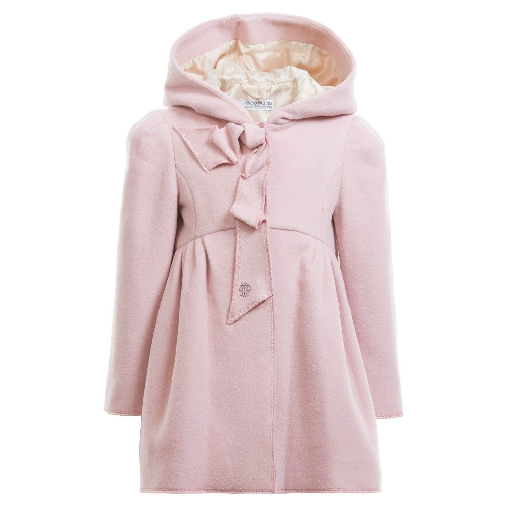 Girls Pink Wool & Cashmere Blend Hooded Coat | Cashmere, Girls and ...