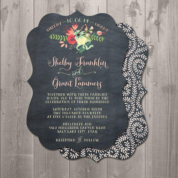 Diy Chalkboard Wedding Invitations: Chalkboard Floral Ornate Wedding Invitation