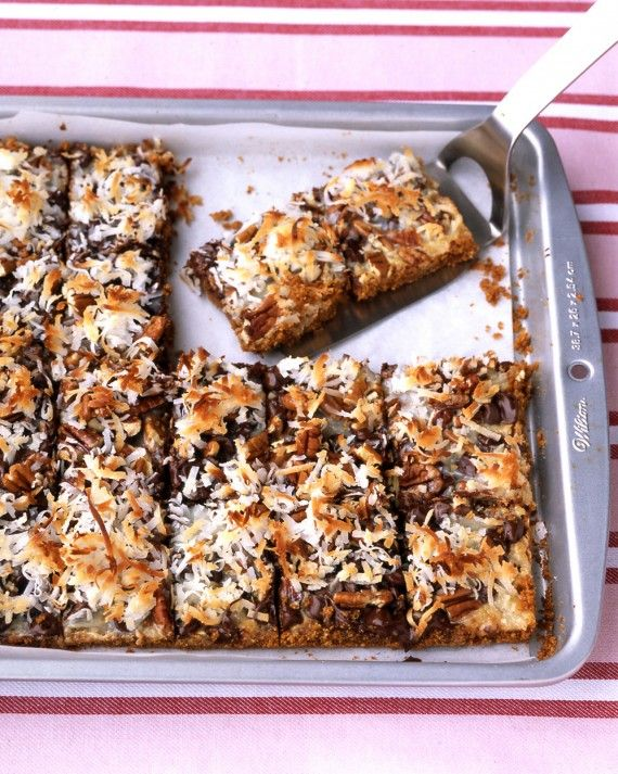 Also known as seven-layer bars or hello dollies, these rich bar cookies begin with a crust made from graham cracker or chocolate wafer crumbs, then pecans, chocolate chips, and coconut are layered on top. Sweetened condensed milk poured over the top sweetens the bars and helps the layers adhere.