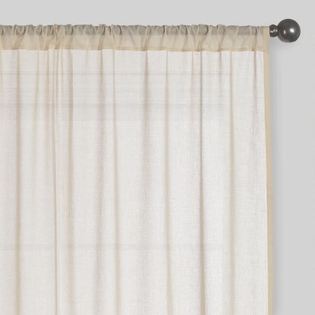 Beige Sleeve Top Cotton Sheer Voile Curtains Set Of 2 V1