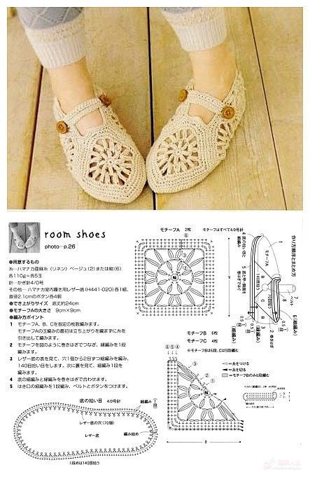 Crochet Slippers - Crochet Diagram Pattern | Crochet Soles, Slippers ...