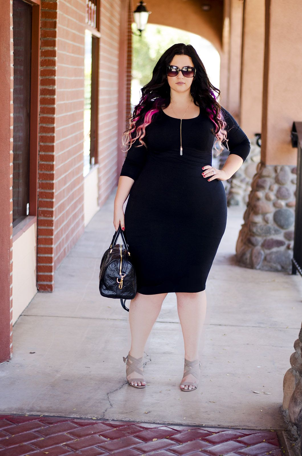 Bandage bodycon dresses 0 celebrities 1639 get lucky extra 50 0 - Black Bodycon Dress Nude Heels Greige Lipstick Sunglasses Sexy Tight Ootd Plus Size Crystal Coons Sometimesglam