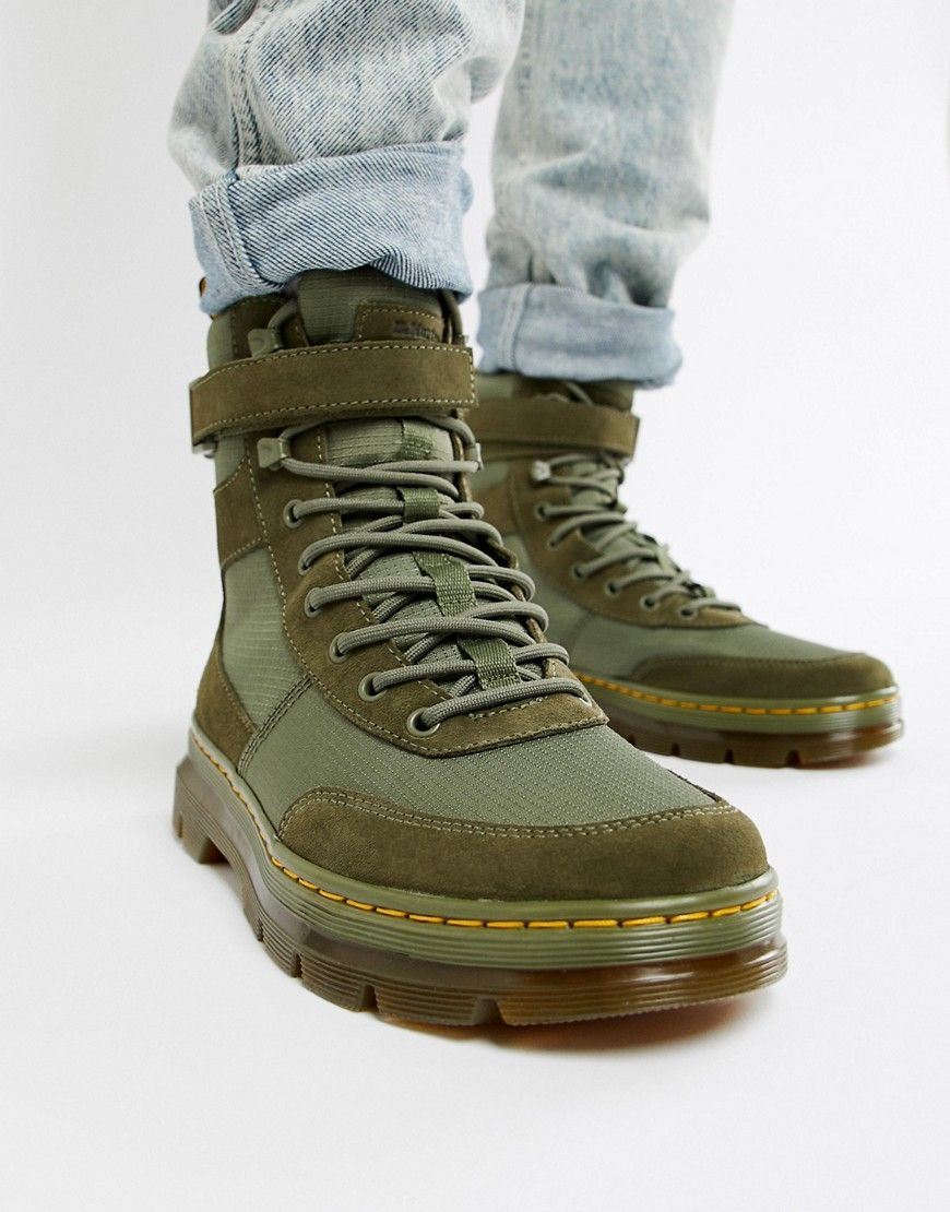 DR. MARTENS COMBS TECH TIE BOOTS IN KHAKI - GREEN.  dr.martens  shoes   1cd841120c2