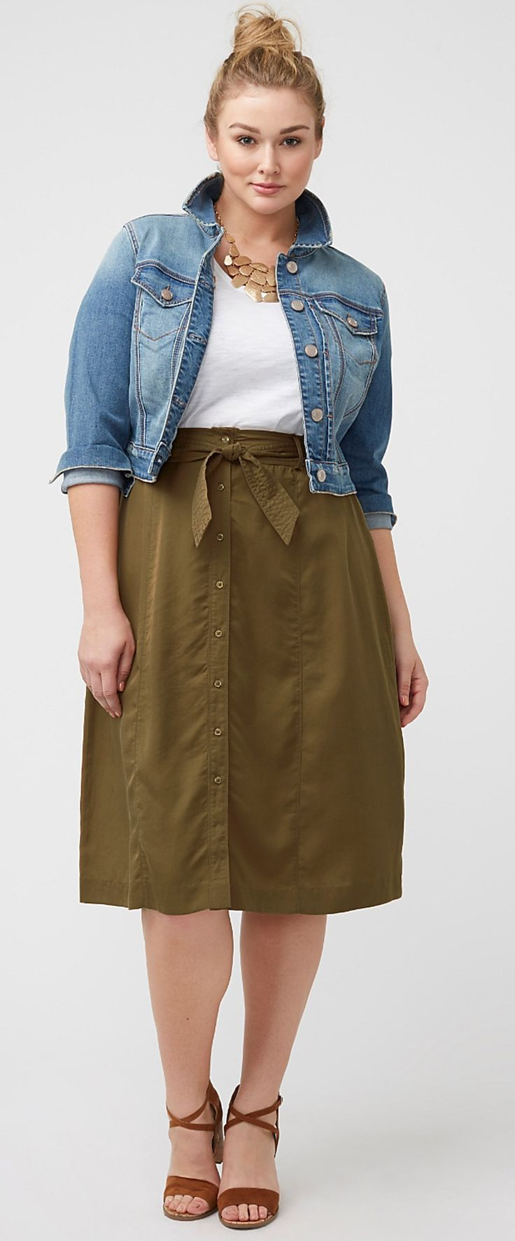 Plus Size Button Front Skirt | Plus size outfits, Size ...