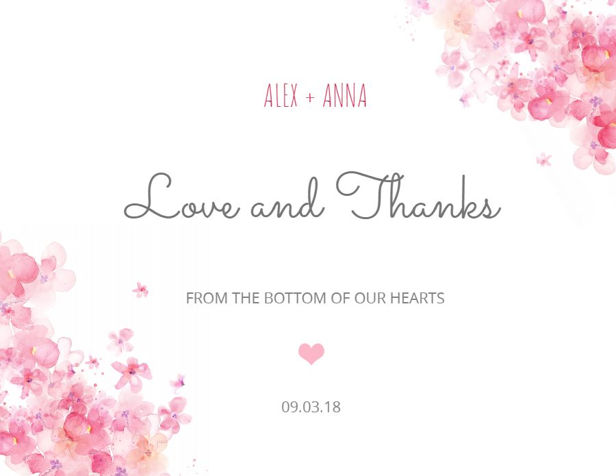 Love And Thanks Greeting Postcard Design Template Pink Wedding Greetings Note Card Template Wedding Greeting Cards