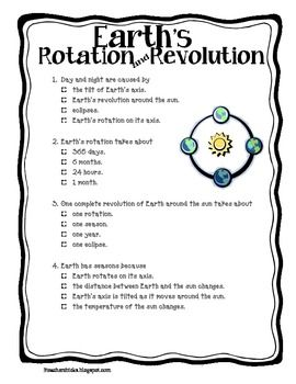 This Is A Quick Quiz About Earth S Rotation And Revolution That I Use For My Third Graders Check Out Earths Rotation Earth And Space Science Science Classroom
