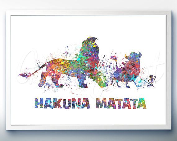 Disney Lion King Hakuna Matata Watercolor Art Print   Wall Decor    Watercolor Painting   Home