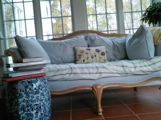 Best Blue And White Ticking On French Sofa French Sofa 400 x 300