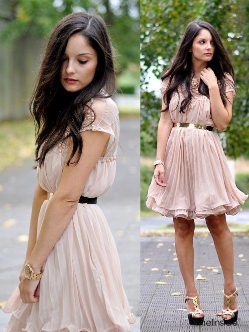 Apricot Short Sleeve Lace Pleated Chiffon Dress -