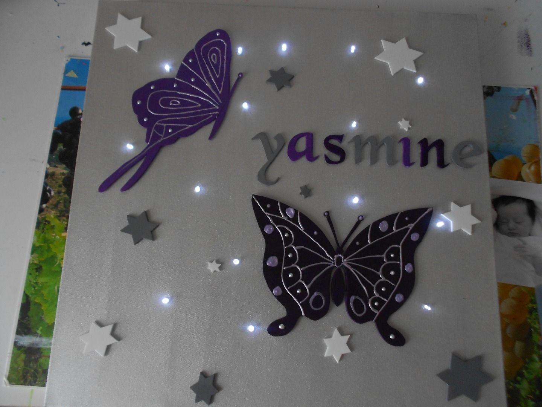 tableau lumineux personnalis etoiles et papillon gris et prune tableau lumineux papillon et. Black Bedroom Furniture Sets. Home Design Ideas