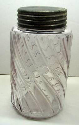 Antq-Vtg-Amethyst-Pint-Size-Glass-Canning-Fruit-Preserve-Jar-Zinc-Screw-Lid-1800-Starting Bid $9.99.