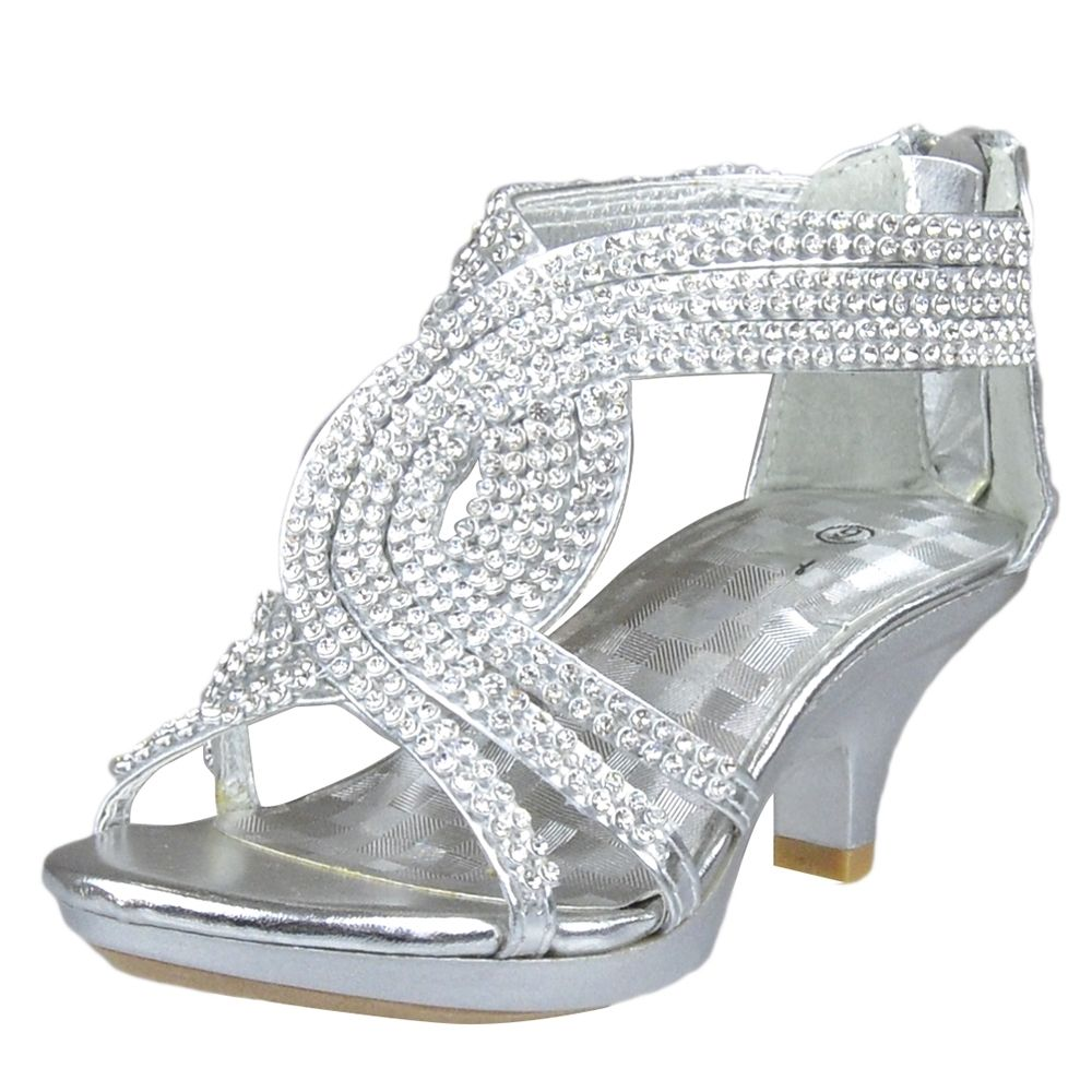 Girl's Rhinestone Open Toe Criss-Cross Straps High Heel Dress ...