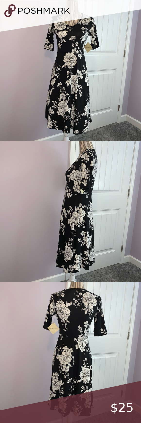 Nwt Black Floral Dress Size S New With Tags Tiffany Grey Dress Black Floral Dress Size Small Floral Dress Black Green Short Sleeve Dress Striped Knit Dress [ 1740 x 580 Pixel ]
