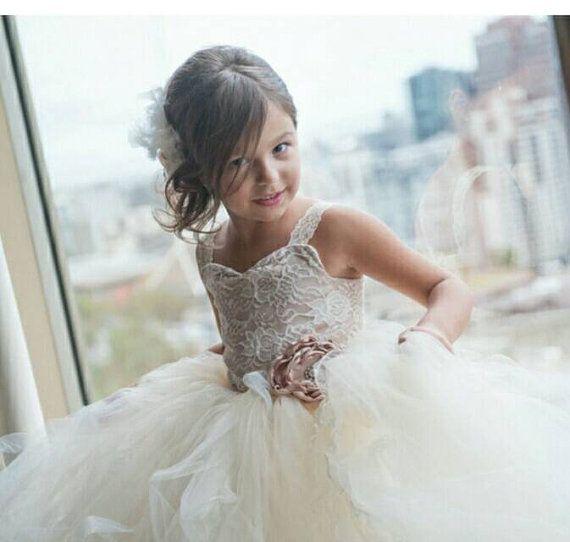 Lace Flower Girl Dress, Vintage Inspired Flower Girl Tutu Dress ...