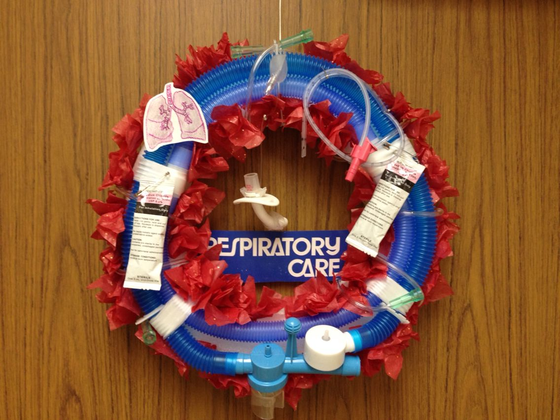 respiratory therapy christmas wreath complete with trach hanging