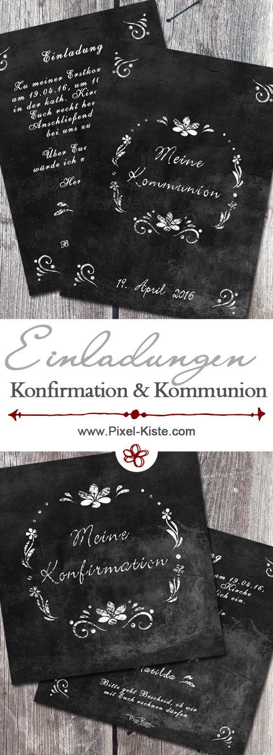 Einladungskarten Zur Kommunion Oder Konfirmation Im Chalk Design  Individuell Gestalten Und Drucken Lassen. Die Einladungen Sind In  Verschiedenen Formaten ...