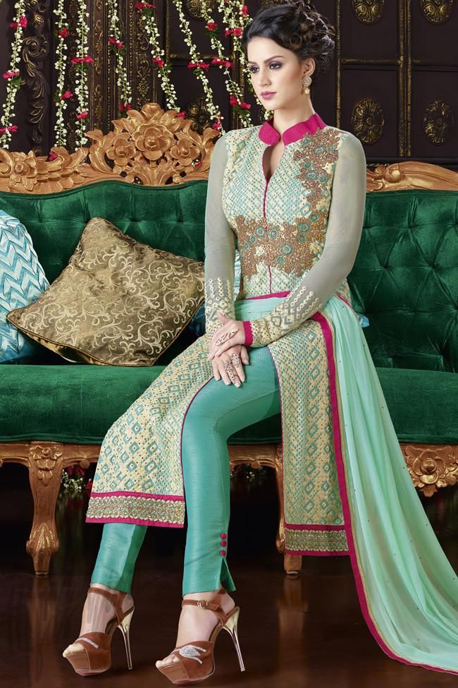 Buy Green And Sky Blue Georgette Jacket Style Straight Suit Online