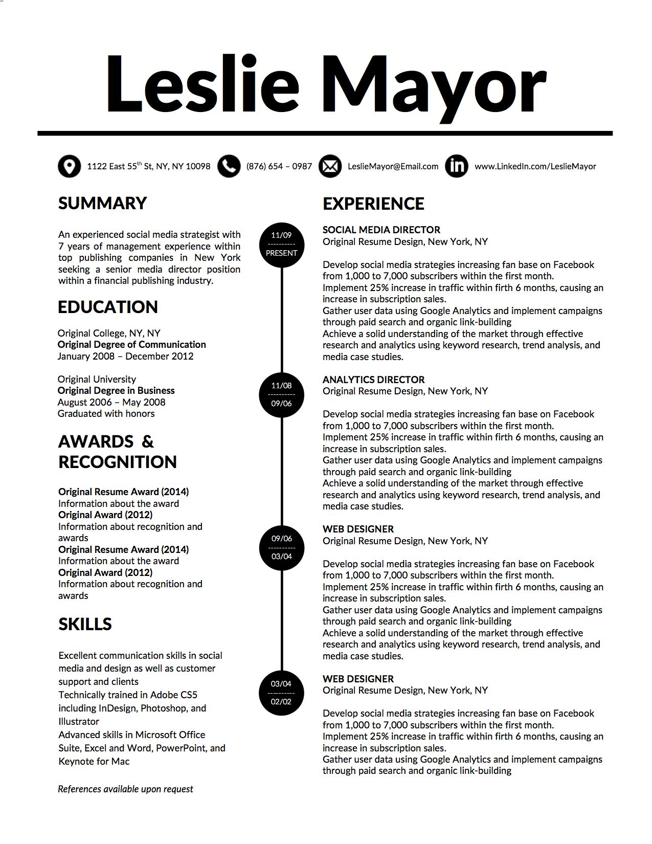 Leslie Mayor Resume Template  Original Resume Design  Prof
