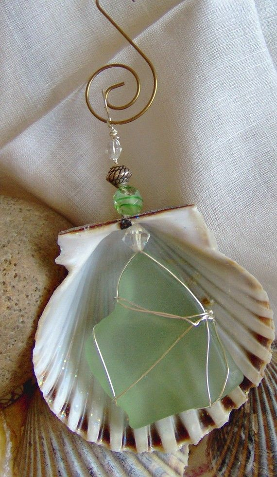 Nantucket scallop shell and sea glass ornament scallop for Seashell ornaments craft