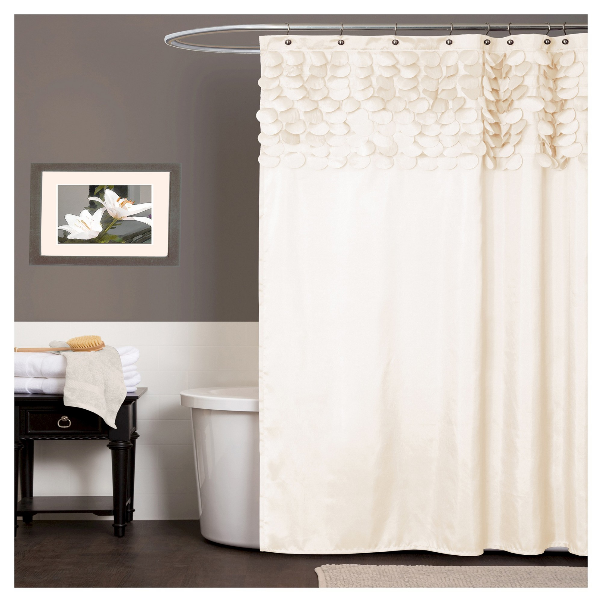 Lillian Shower Curtain Beige Lush Decor Elegant Shower