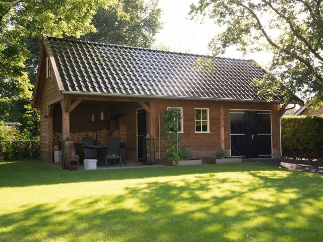 houten schuur met overkapping houtopslag 1 | design ideas - garden