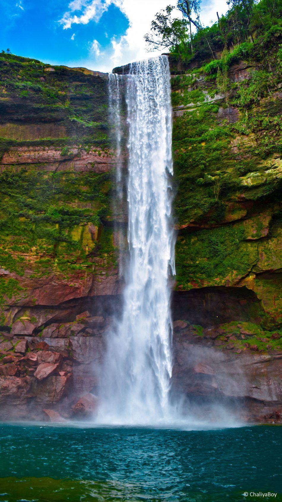 Waterfall Green Water Blue Sky 4k Ultra Hd Mobile Wallpaper Blue Water Waterfall Blue Sky