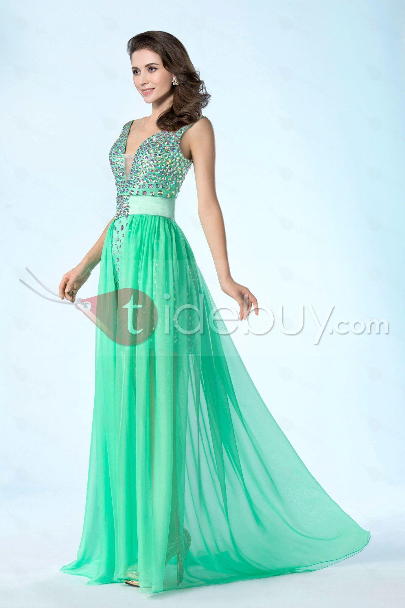 Detachable Column/Sheath V-Neckline Beading Asymmetry Prom Dress